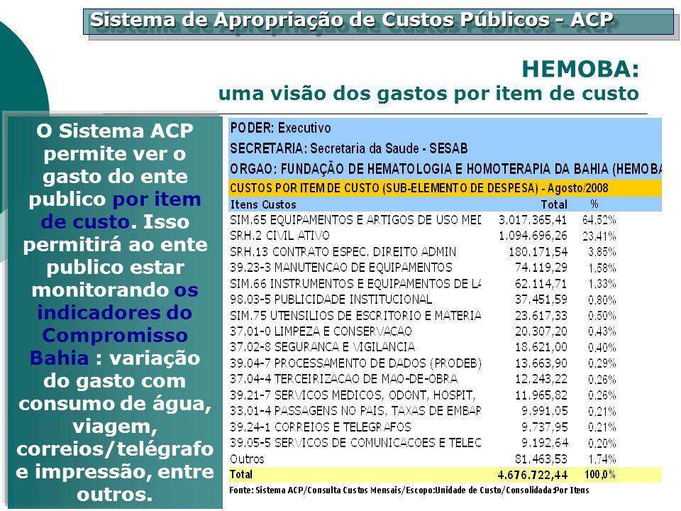 Sistema de Apropriação de Custos Públicos - ACP O Sistema ACP permite ver o gasto do ente publico por item de custo. Isso permitirá ao ente publico es