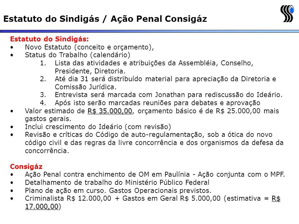 Estatuto do Sindigás / Ação Penal Consigáz Estatuto do Sindigás: Novo Estatuto (conceito e orçamento), Status do Trabalho (calendário) 1.Lista das ati
