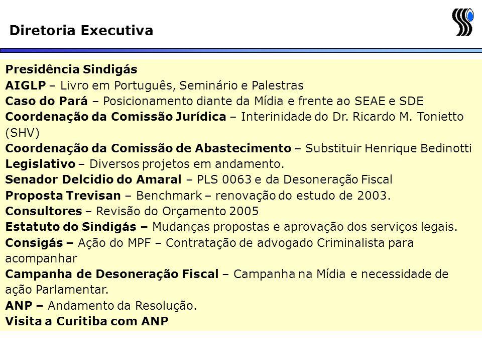 Diretoria Executiva Presidência Sindigás AIGLP – Livro em Português, Seminário e Palestras Caso do Pará – Posicionamento diante da Mídia e frente ao S