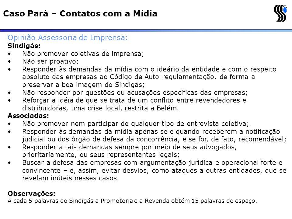 Caso Pará – Contatos com a Mídia Opinião Assessoria de Imprensa: Sindigás: Não promover coletivas de imprensa; Não ser proativo; Responder às demandas