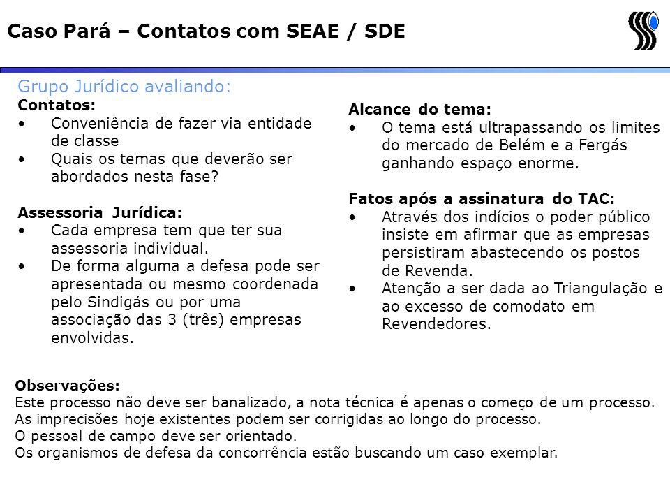 Caso Pará – Contatos com SEAE / SDE Grupo Jurídico avaliando: Contatos: Conveniência de fazer via entidade de classe Quais os temas que deverão ser ab