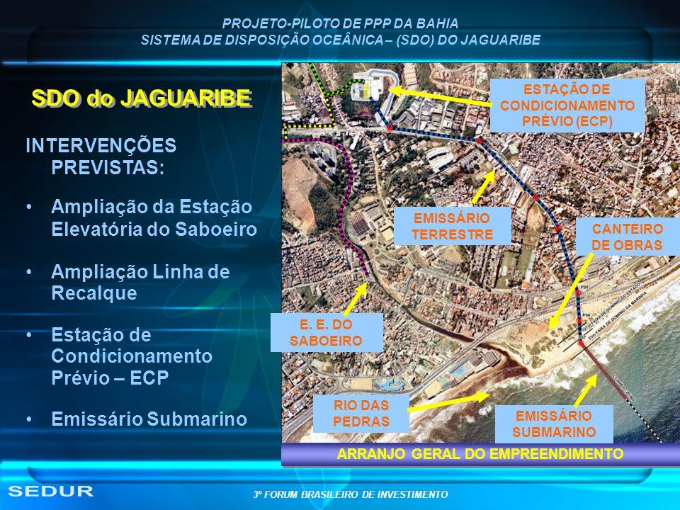 PROJETO-PILOTO DE PPP DA BAHIA SISTEMA DE DISPOSIÇÃO OCEÂNICA – (SDO) DO JAGUARIBE CANTEIRO DE OBRAS ESTAÇÃO DE CONDICIONAMENTO PRÉVIO (ECP) EMISSÁRIO