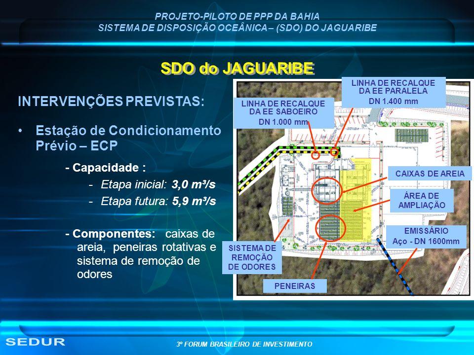 PROJETO-PILOTO DE PPP DA BAHIA SISTEMA DE DISPOSIÇÃO OCEÂNICA – (SDO) DO JAGUARIBE SDO do JAGUARIBE INTERVENÇÕES PREVISTAS: Estação de Condicionamento