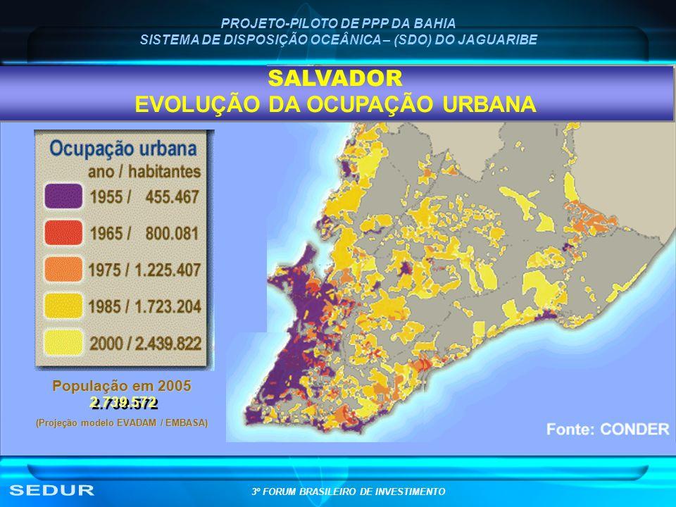PROJETO-PILOTO DE PPP DA BAHIA SISTEMA DE DISPOSIÇÃO OCEÂNICA – (SDO) DO JAGUARIBE População em 2005 (Projeção modelo EVADAM / EMBASA) 2.739.572 SALVA