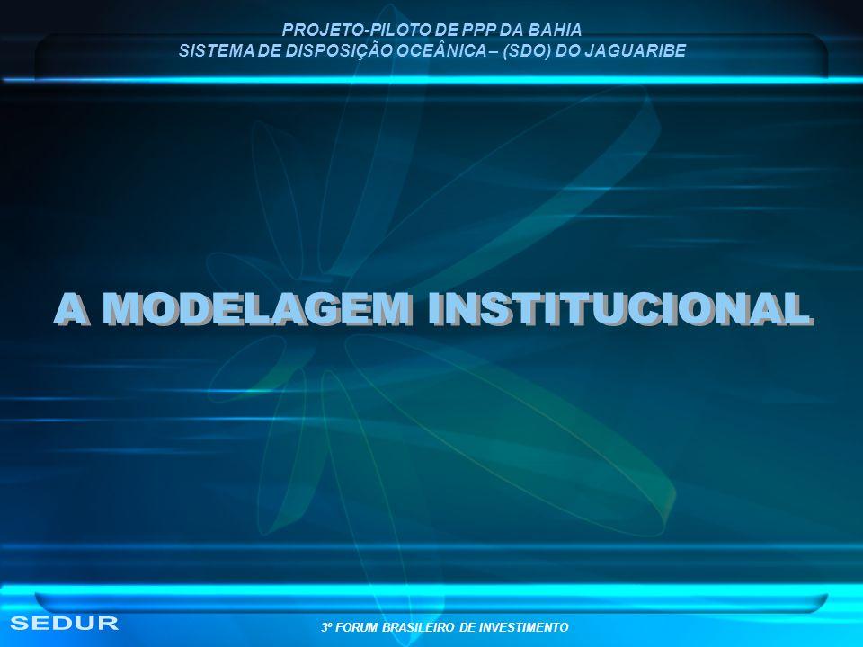 PROJETO-PILOTO DE PPP DA BAHIA SISTEMA DE DISPOSIÇÃO OCEÂNICA – (SDO) DO JAGUARIBE A MODELAGEM INSTITUCIONAL 3º FORUM BRASILEIRO DE INVESTIMENTO