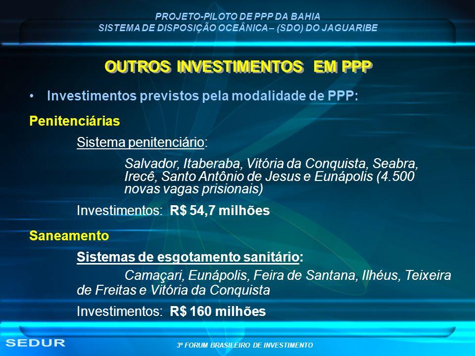 PROJETO-PILOTO DE PPP DA BAHIA SISTEMA DE DISPOSIÇÃO OCEÂNICA – (SDO) DO JAGUARIBE OUTROS INVESTIMENTOS EM PPP Investimentos previstos pela modalidade