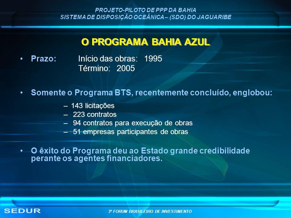 O PROGRAMA BAHIA AZUL Prazo: Início das obras: 1995 Término: 2005 Somente o Programa BTS, recentemente concluído, englobou: –143 licitações – 223 cont