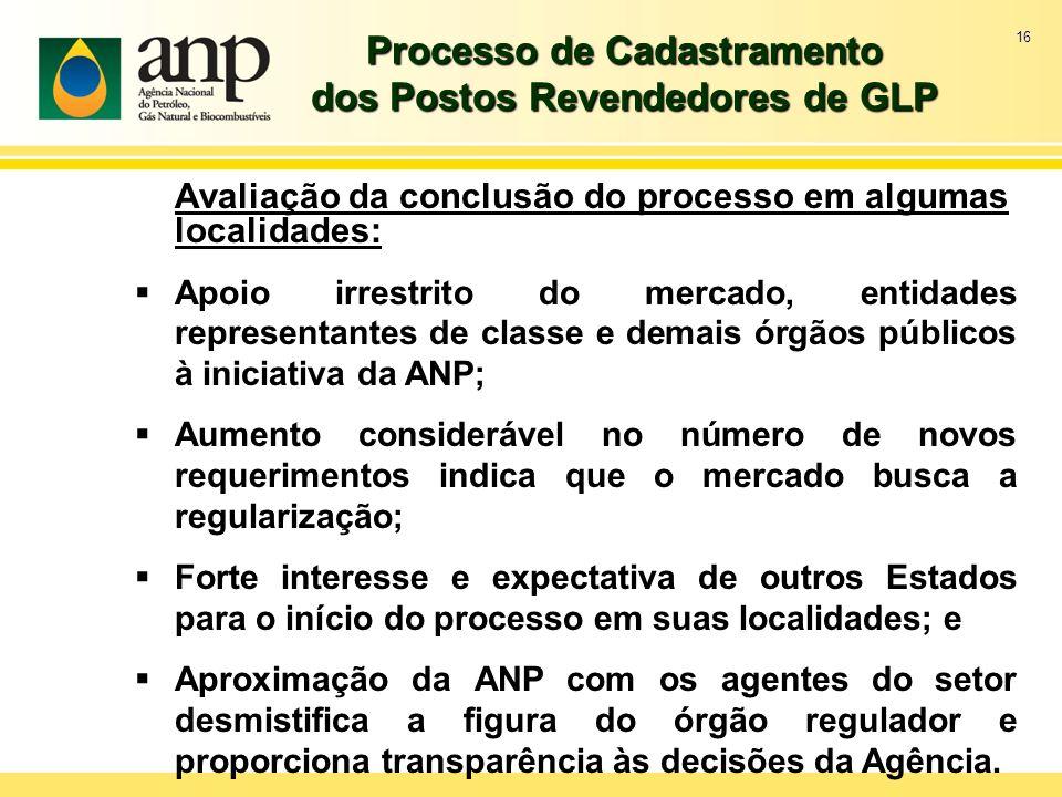 16 Processo de Cadastramento dos Postos Revendedores de GLP Avaliação da conclusão do processo em algumas localidades: Apoio irrestrito do mercado, en
