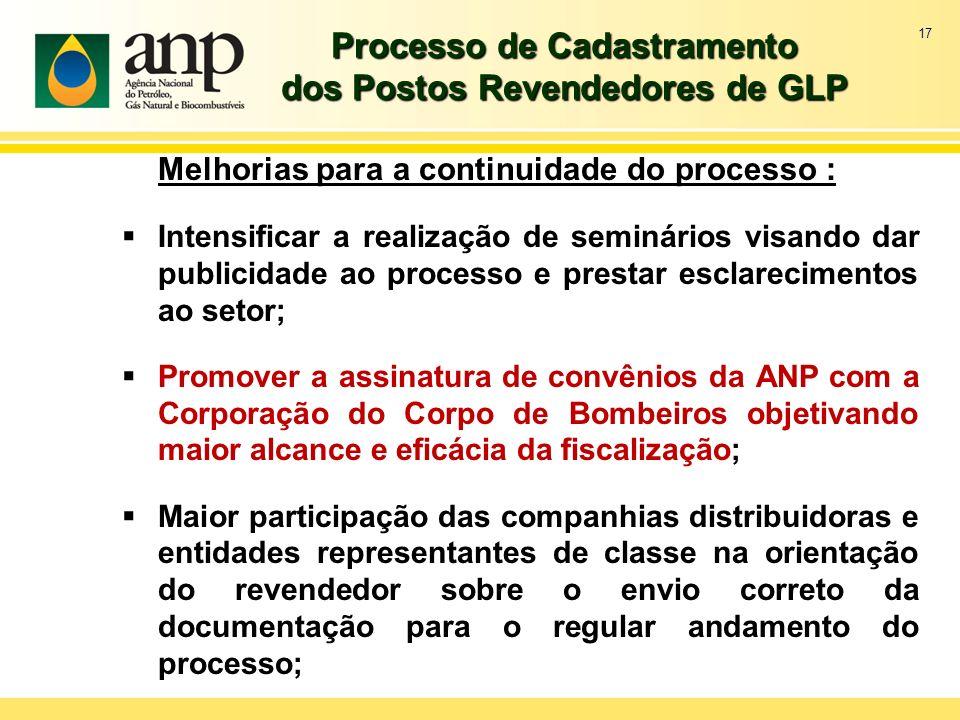17 Processo de Cadastramento dos Postos Revendedores de GLP Melhorias para a continuidade do processo : Intensificar a realização de seminários visand