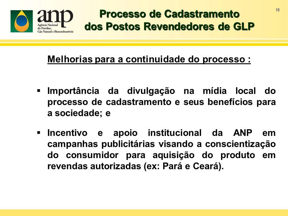18 Processo de Cadastramento dos Postos Revendedores de GLP Melhorias para a continuidade do processo : Importância da divulgação na mídia local do pr