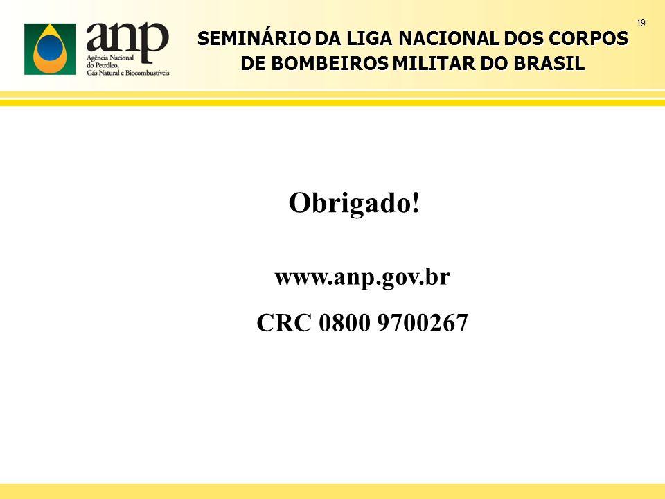 19 SEMINÁRIO DA LIGA NACIONAL DOS CORPOS DE BOMBEIROS MILITAR DO BRASIL Obrigado! www.anp.gov.br CRC 0800 9700267