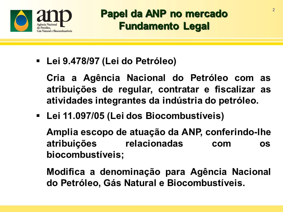 2 Papel da ANP no mercado Fundamento Legal Lei 9.478/97 (Lei do Petróleo) Cria a Agência Nacional do Petróleo com as atribuições de regular, contratar