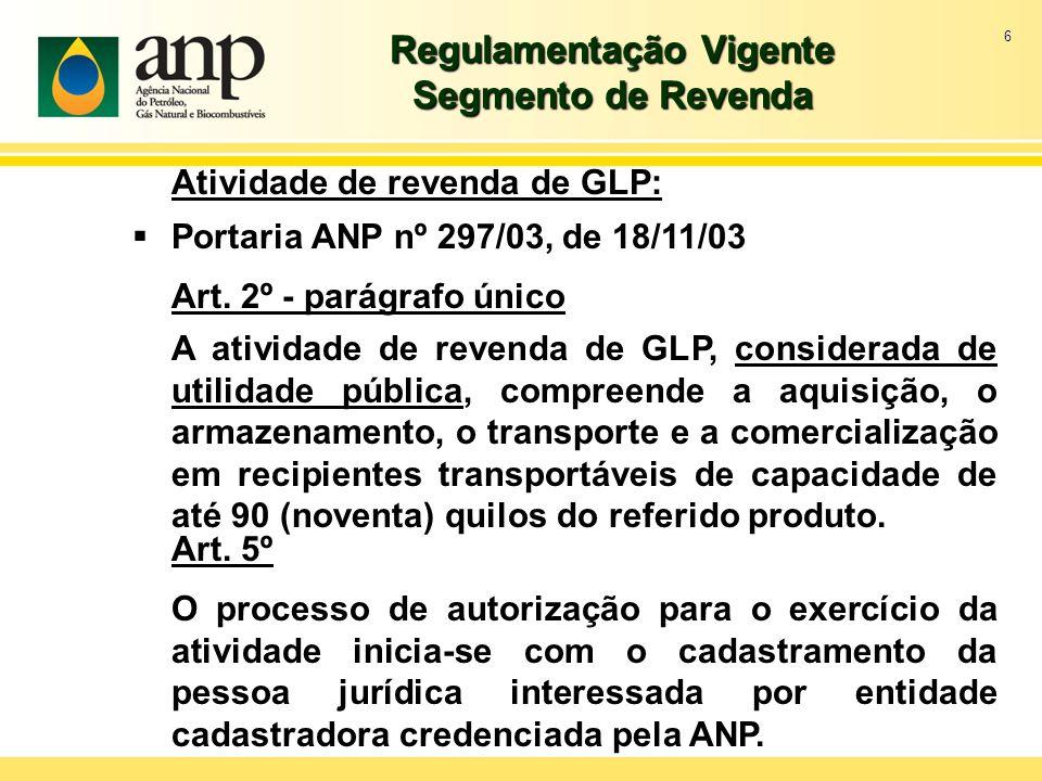 6 Regulamentação Vigente Segmento de Revenda Atividade de revenda de GLP: Portaria ANP nº 297/03, de 18/11/03 Art. 2º - parágrafo único A atividade de