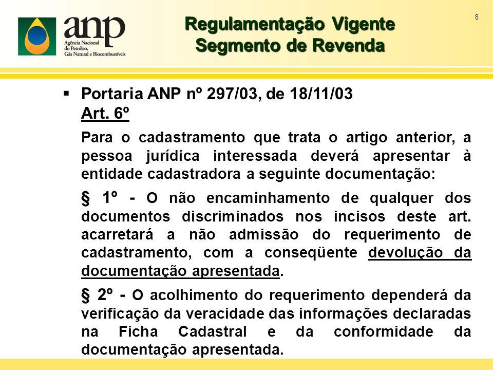 8 Regulamentação Vigente Segmento de Revenda Portaria ANP nº 297/03, de 18/11/03 Art. 6º Para o cadastramento que trata o artigo anterior, a pessoa ju