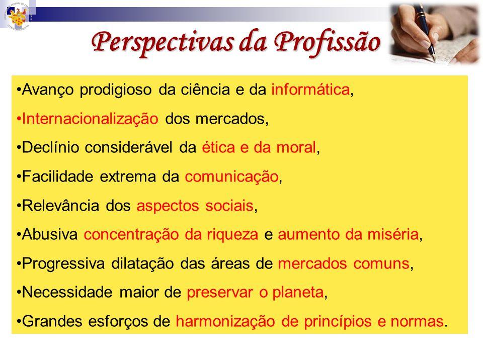 Perspectivas da Profissão Avanço prodigioso da ciência e da informática, Internacionalização dos mercados, Declínio considerável da ética e da moral,