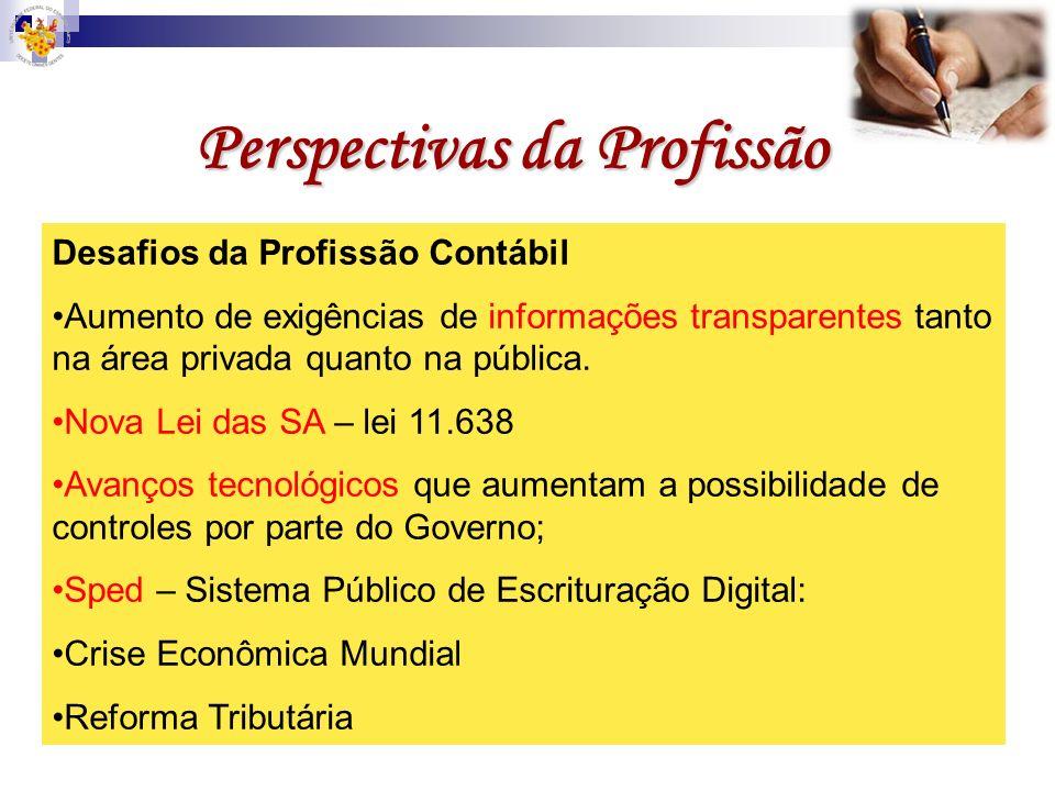 Perspectivas da Profissão Desafios da Profissão Contábil Aumento de exigências de informações transparentes tanto na área privada quanto na pública. N