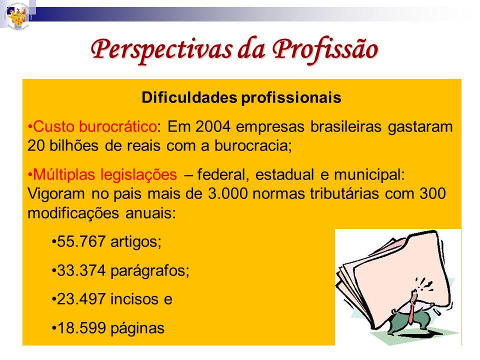 Perspectivas da Profissão Dificuldades profissionais Custo burocrático: Em 2004 empresas brasileiras gastaram 20 bilhões de reais com a burocracia; Mú