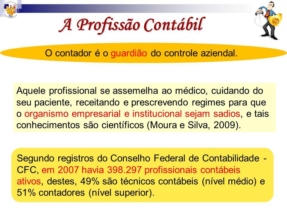 A Profissão Contábil Segundo registros do Conselho Federal de Contabilidade - CFC, em 2007 havia 398.297 profissionais contábeis ativos, destes, 49% s