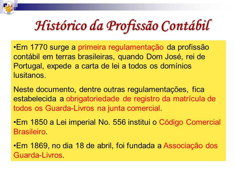 Histórico da Profissão Contábil Em 1770 surge a primeira regulamentação da profissão contábil em terras brasileiras, quando Dom José, rei de Portugal,