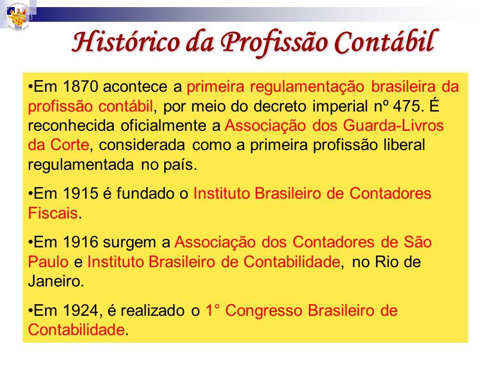 Histórico da Profissão Contábil Em 1870 acontece a primeira regulamentação brasileira da profissão contábil, por meio do decreto imperial nº 475. É re