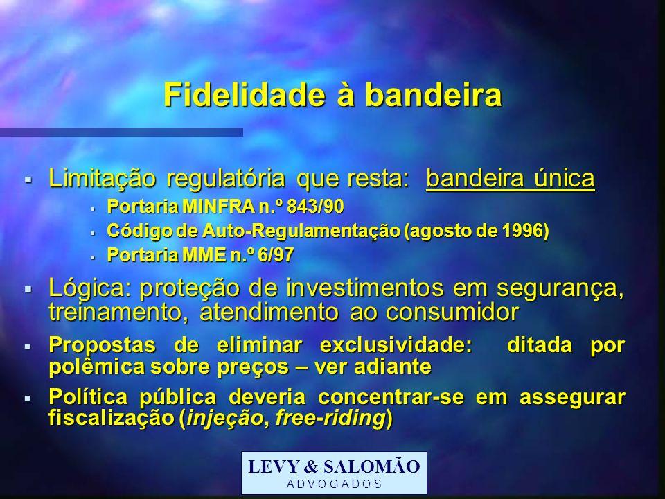 LEVY & SALOMÃO A D V O G A D O S Fidelidade à bandeira Limitação regulatória que resta: bandeira única Limitação regulatória que resta: bandeira única