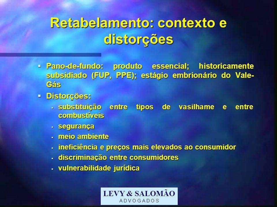 LEVY & SALOMÃO A D V O G A D O S Retabelamento: contexto e distorções Pano-de-fundo: produto essencial; historicamente subsidiado (FUP, PPE); estágio