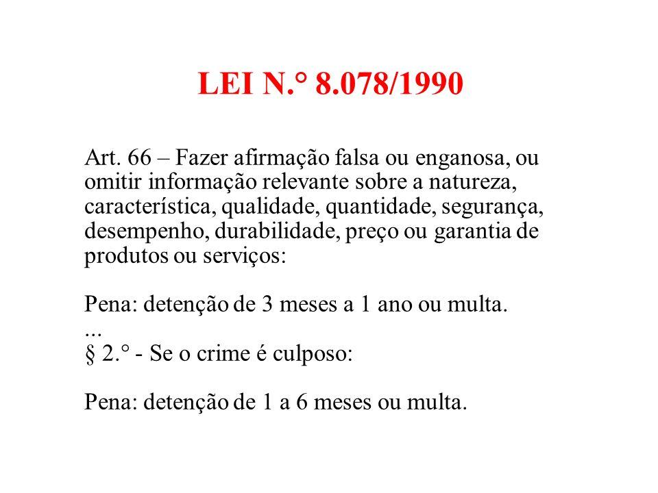 LEI N.° 8.078/1990 Art.