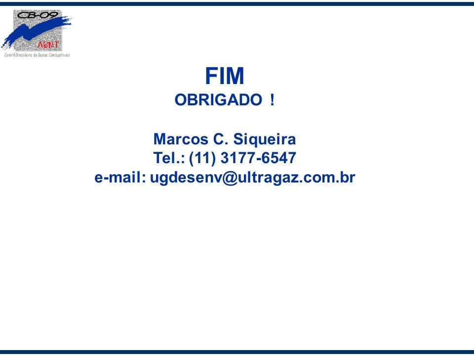 FIM OBRIGADO ! Marcos C. Siqueira Tel.: (11) 3177-6547 e-mail: ugdesenv@ultragaz.com.br