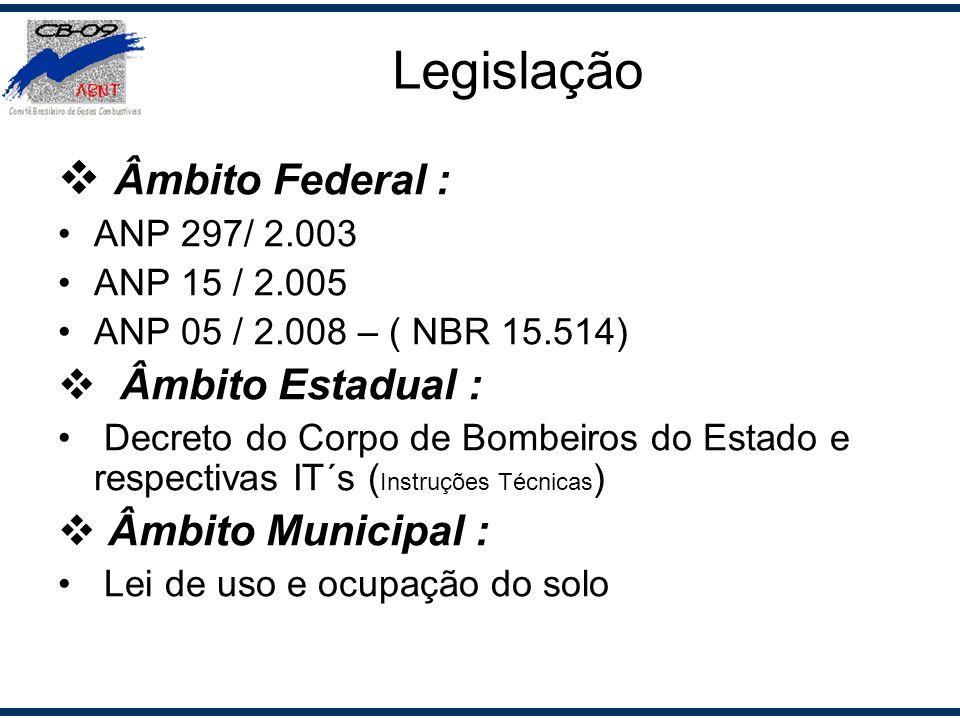 Âmbito Federal : ANP 297/ 2.003 ANP 15 / 2.005 ANP 05 / 2.008 – ( NBR 15.514) Âmbito Estadual : Decreto do Corpo de Bombeiros do Estado e respectivas