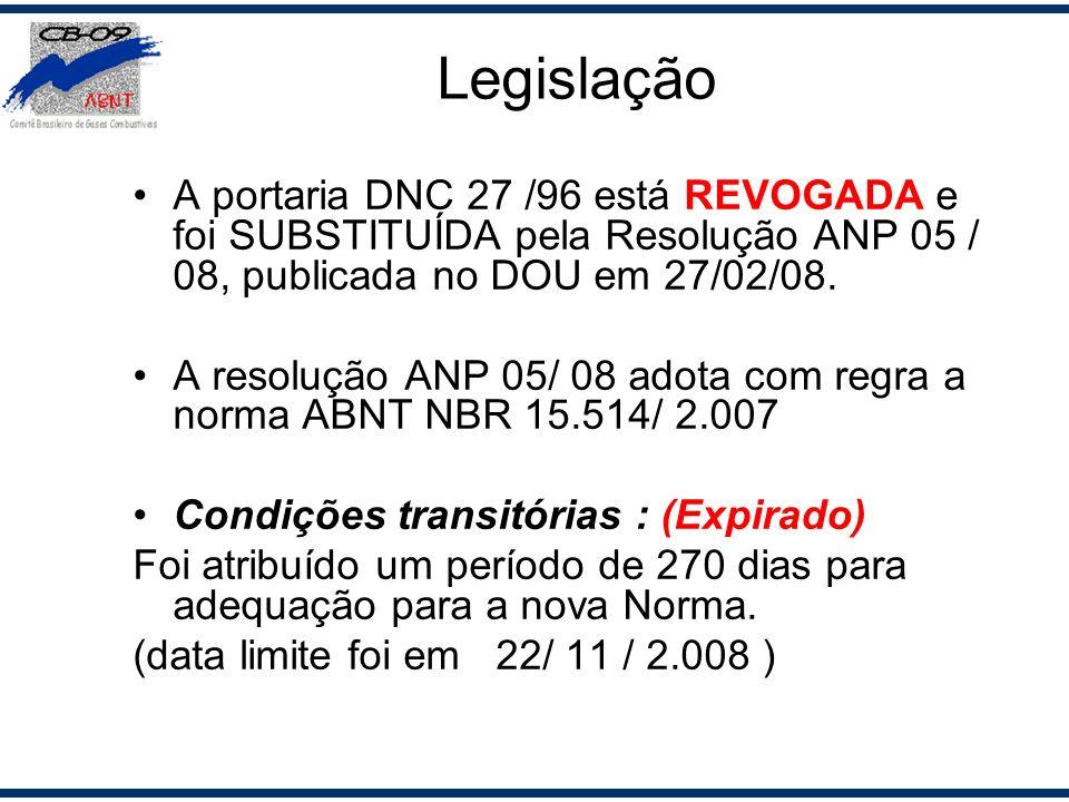 A portaria DNC 27 /96 está REVOGADA e foi SUBSTITUÍDA pela Resolução ANP 05 / 08, publicada no DOU em 27/02/08. A resolução ANP 05/ 08 adota com regra