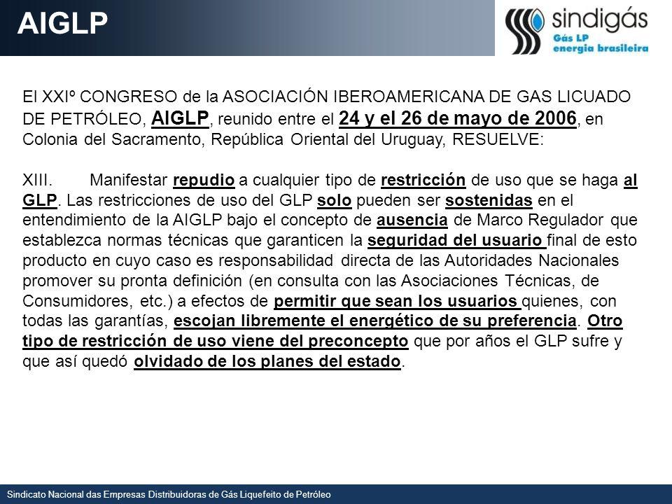 Sindicato Nacional das Empresas Distribuidoras de Gás Liquefeito de Petróleo AIGLP El XXIº CONGRESO de la ASOCIACIÓN IBEROAMERICANA DE GAS LICUADO DE