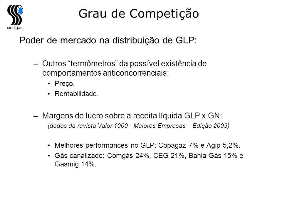 sindigás Grau de Competição Poder de mercado na distribuição de GLP: –Outros termômetros da possível existência de comportamentos anticoncorrenciais:
