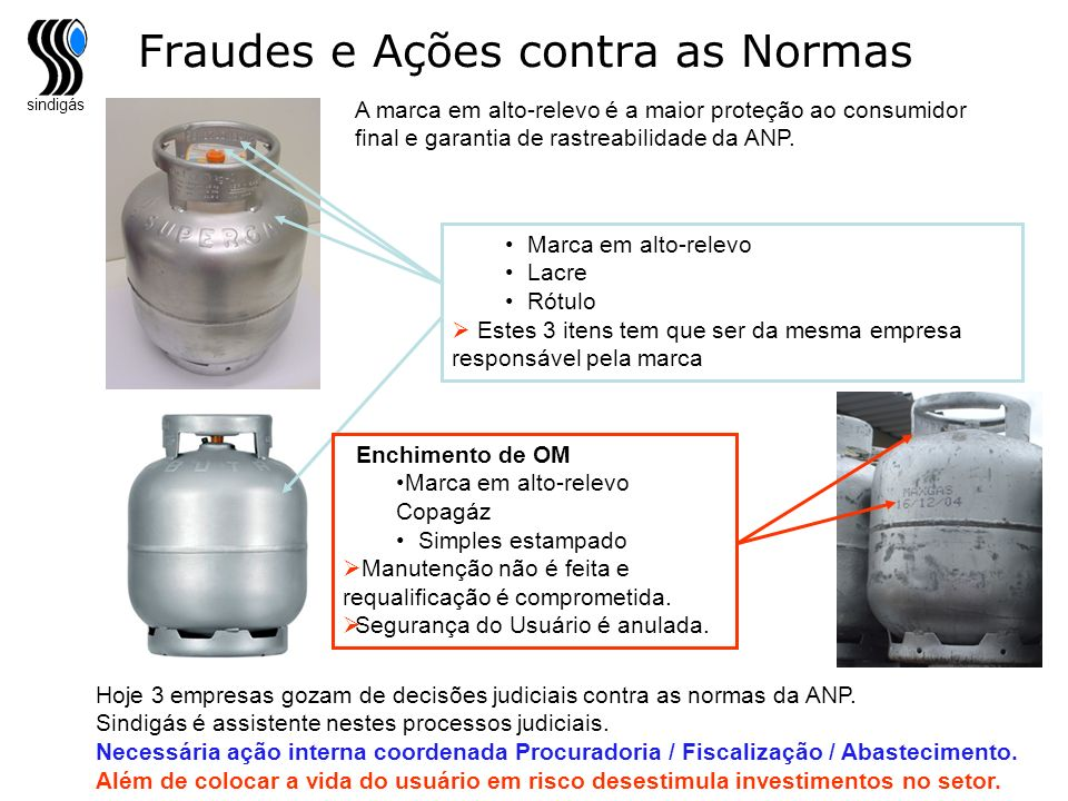sindigás Fraudes e Ações contra as Normas A marca em alto-relevo é a maior proteção ao consumidor final e garantia de rastreabilidade da ANP. Marca em