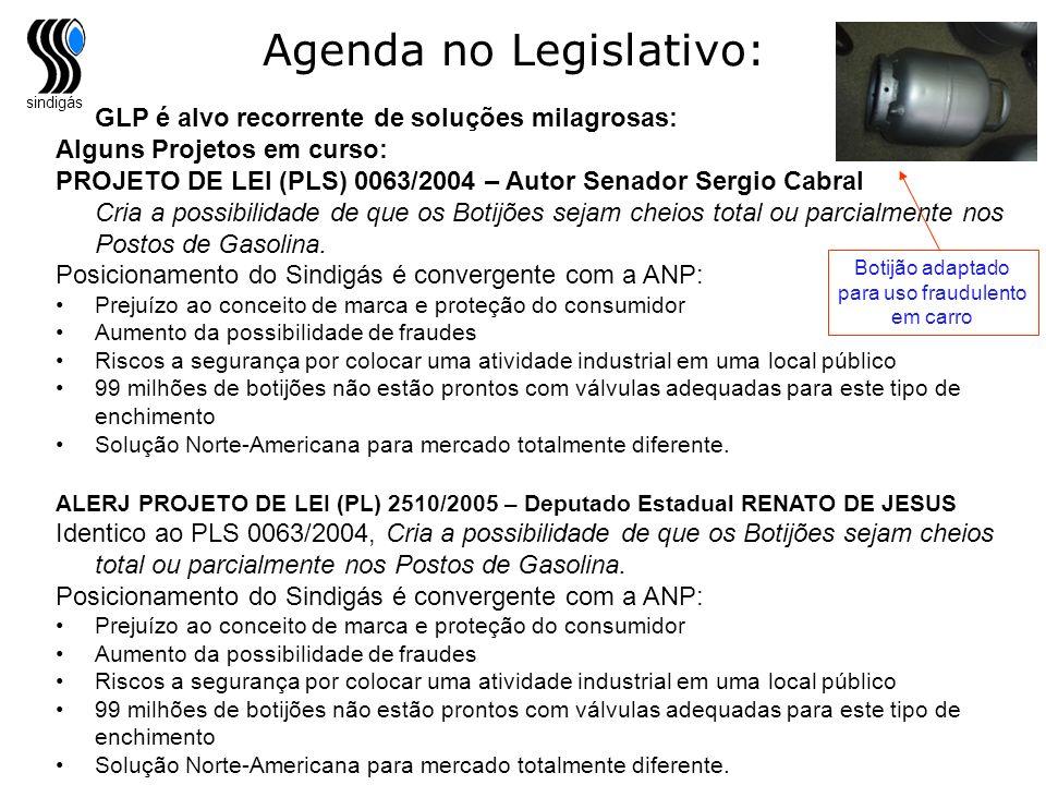 sindigás Agenda no Legislativo: GLP é alvo recorrente de soluções milagrosas: Alguns Projetos em curso: PROJETO DE LEI (PLS) 0063/2004 – Autor Senador