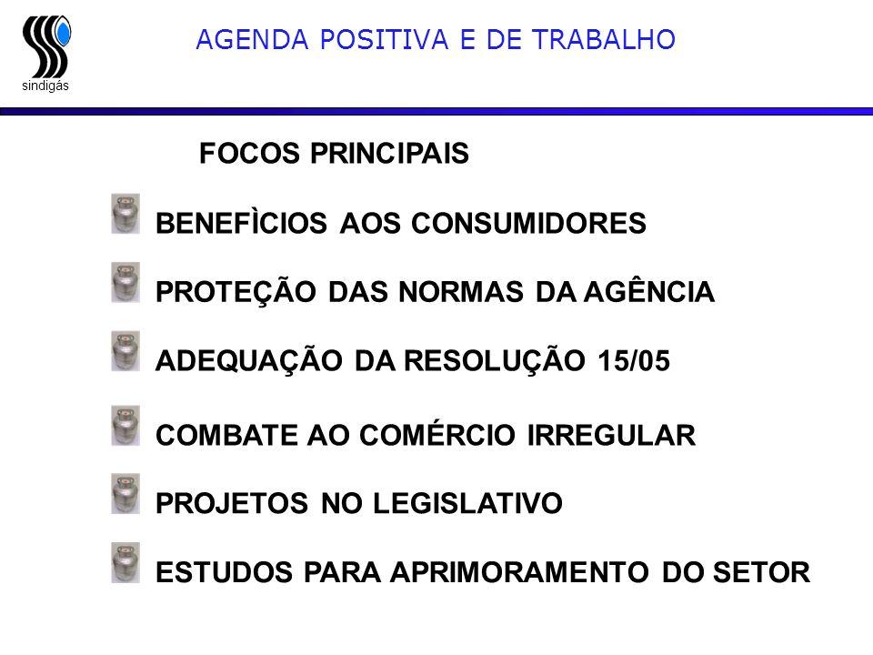 sindigás FOCOS PRINCIPAIS BENEFÌCIOS AOS CONSUMIDORES AGENDA POSITIVA E DE TRABALHO ADEQUAÇÃO DA RESOLUÇÃO 15/05 PROTEÇÃO DAS NORMAS DA AGÊNCIA COMBAT