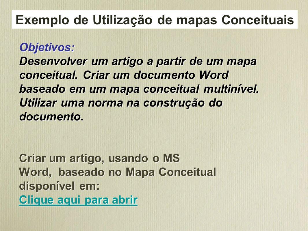 Objetivos: Desenvolver um artigo a partir de um mapa conceitual. Criar um documento Word baseado em um mapa conceitual multinível. Utilizar uma norma