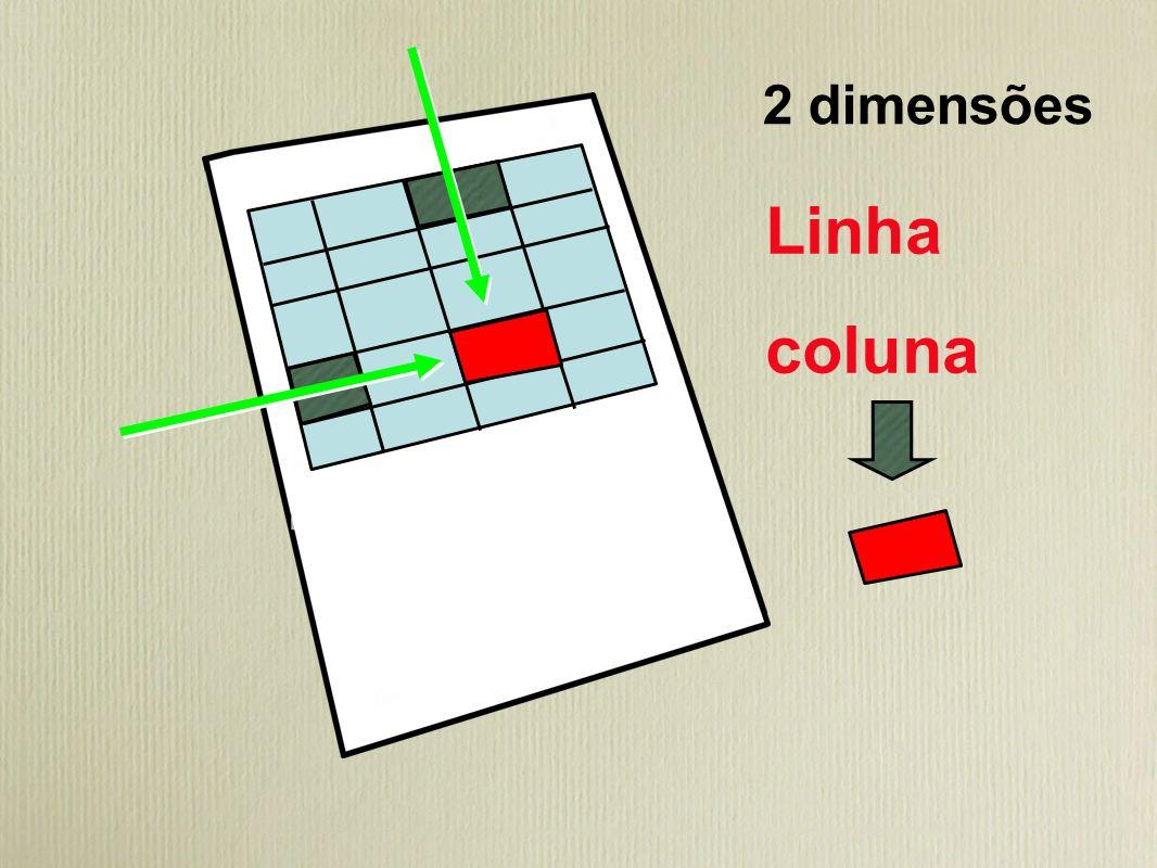 2 dimensões Linha coluna