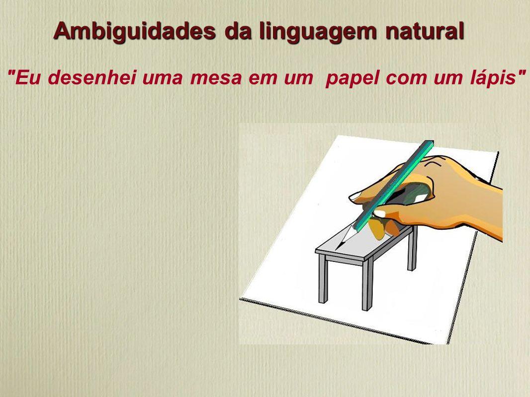 Eu desenhei uma mesa em um papel com um lápis Ambiguidades da linguagem natural