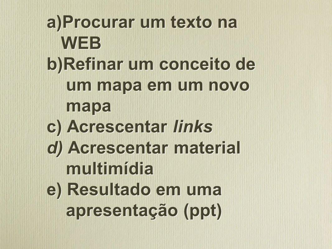 a)Procurar um texto na WEB b)Refinar um conceito de um mapa em um novo mapa c) Acrescentar links d) Acrescentar material multimídia e) Resultado em um