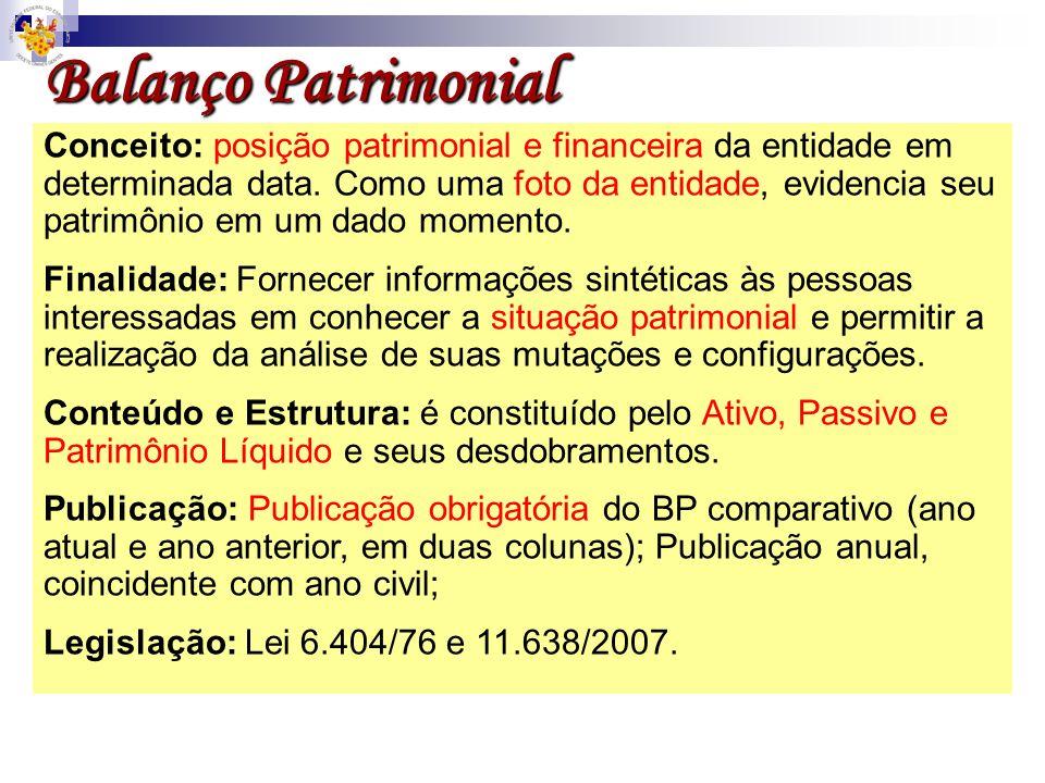 Conceito: posição patrimonial e financeira da entidade em determinada data. Como uma foto da entidade, evidencia seu patrimônio em um dado momento. Fi