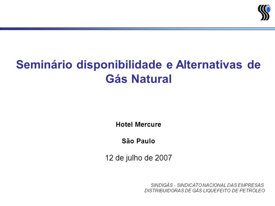 Seminário disponibilidade e Alternativas de Gás Natural Hotel Mercure São Paulo 12 de julho de 2007 SINDIGÁS - SINDICATO NACIONAL DAS EMPRESAS DISTRIB