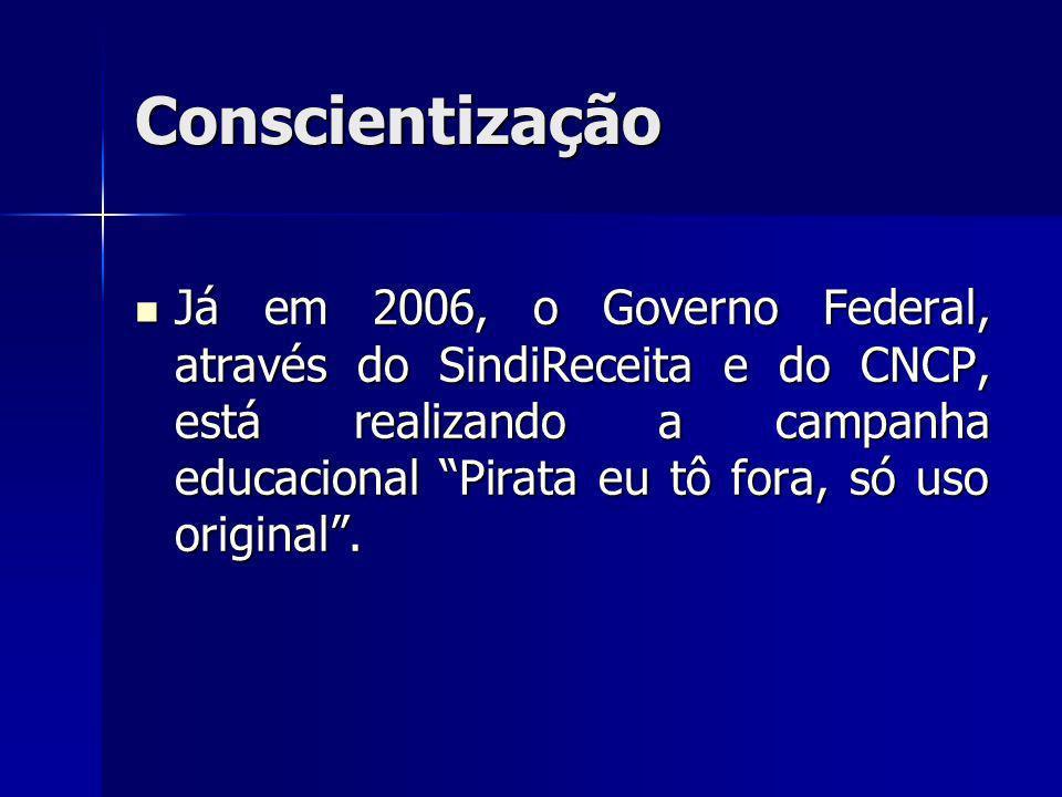 Já em 2006, o Governo Federal, através do SindiReceita e do CNCP, está realizando a campanha educacional Pirata eu tô fora, só uso original. Já em 200