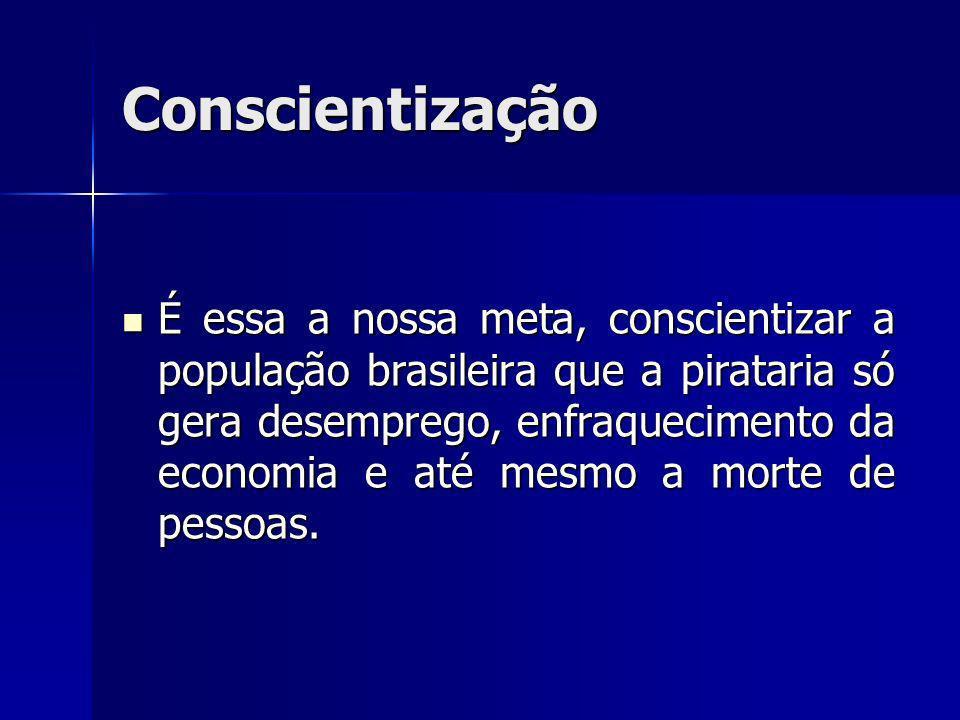 É essa a nossa meta, conscientizar a população brasileira que a pirataria só gera desemprego, enfraquecimento da economia e até mesmo a morte de pesso
