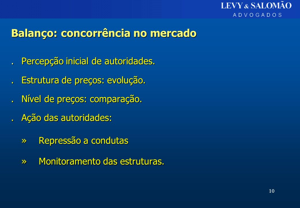 10 Balanço: concorrência no mercado.Percepção inicial de autoridades..Estrutura de preços: evolução..Nível de preços: comparação..Ação das autoridades