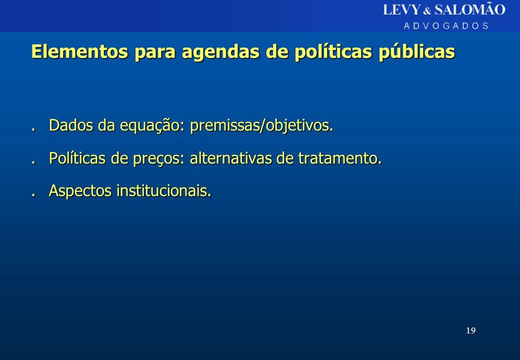 19 Elementos para agendas de políticas públicas.Dados da equação: premissas/objetivos..Políticas de preços: alternativas de tratamento..Aspectos insti