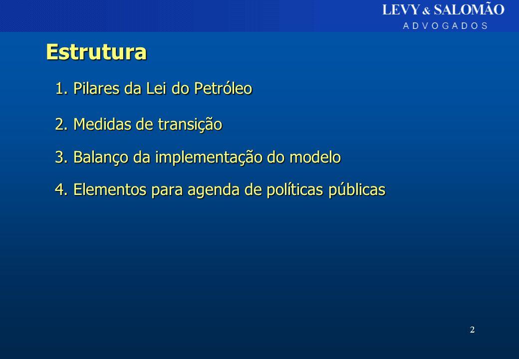 2 Estrutura 1. Pilares da Lei do Petróleo 2. Medidas de transição 3. Balanço da implementação do modelo 4. Elementos para agenda de políticas públicas