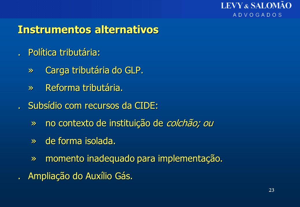 23 Instrumentos alternativos.Política tributária: »Carga tributária do GLP. » Reforma tributária..Subsídio com recursos da CIDE: »no contexto de insti
