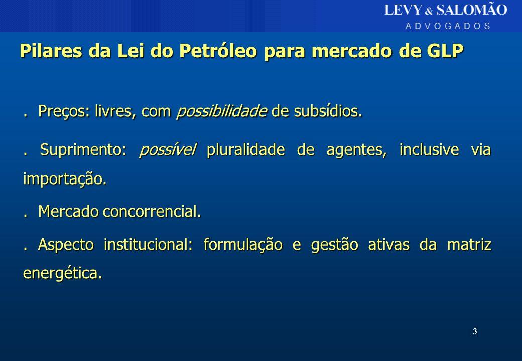 3 Pilares da Lei do Petróleo para mercado de GLP. Preços: livres, com possibilidade de subsídios.. Suprimento: possível pluralidade de agentes, inclus