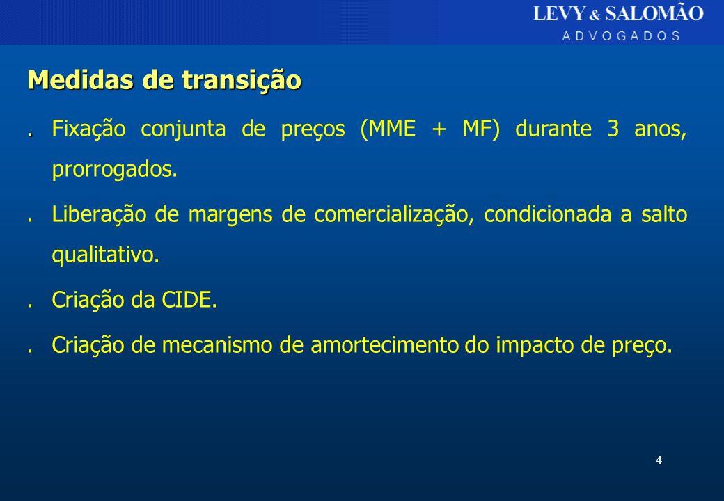 4 Medidas de transição..Fixação conjunta de preços (MME + MF) durante 3 anos, prorrogados..Liberação de margens de comercialização, condicionada a sal