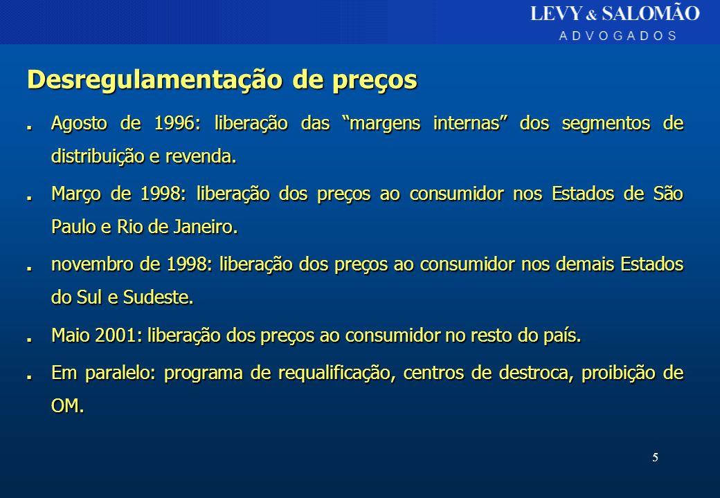 5 Desregulamentação de preços. Agosto de 1996: liberação das margens internas dos segmentos de distribuição e revenda.. Março de 1998: liberação dos p